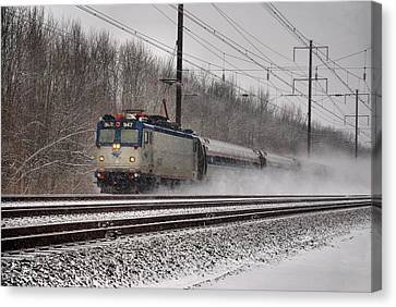 Amtrak In Snowstorm Canvas Print by Steven Richman