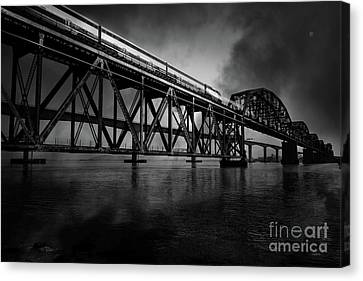 Amtrak Midnight Express 5d18829 Black And White Canvas Print by Wingsdomain Art and Photography