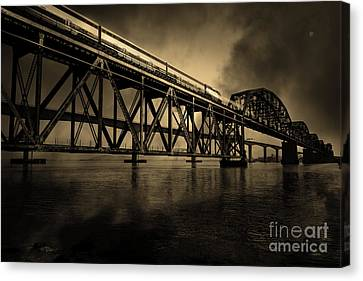 Amtrak Midnight Express 5d18829 Sepia Canvas Print by Wingsdomain Art and Photography