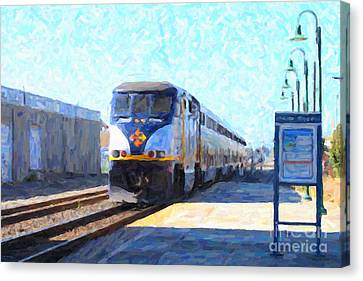 Amtrak Train At The Station Canvas Print by Wingsdomain Art and Photography