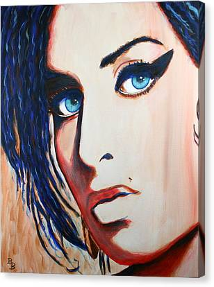 Canvas Print featuring the painting Amy Winehouse Back To Blue by Bob Baker
