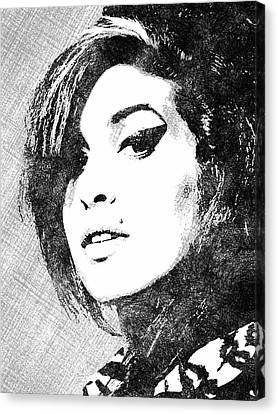 Amy Winehouse Bw Portrait Canvas Print by Mihaela Pater