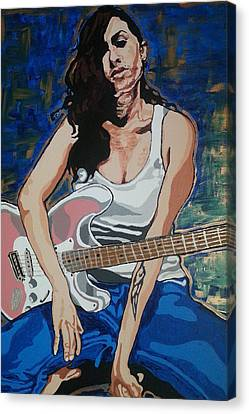 Amy Winehouse Canvas Print by Rachel Natalie Rawlins