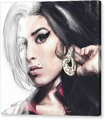 Amy Winehouse Unfinished Journey  Canvas Print by Mark Tonelli