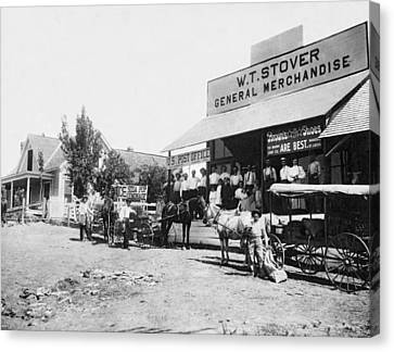 An 1885 General Store Canvas Print by Underwood Archives