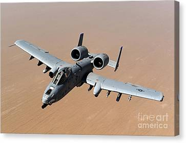 An A-10 Thunderbolt II Over The Skies Canvas Print