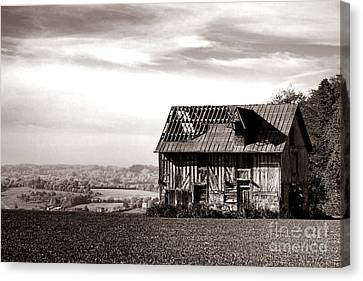 Sepia Vintage Farmhouse Canvas Print - An Abandoned Farmhouse In Normandy by Olivier Le Queinec