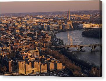 An Aerial View Of D.c. And The Potomac Canvas Print by Kenneth Garrett
