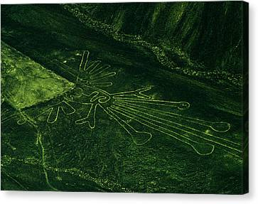 An Aerial View Of The Nazca Lines. They Canvas Print by Bates Littlehales