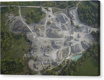 An Aerial View Shows A Limestone Quarry Canvas Print