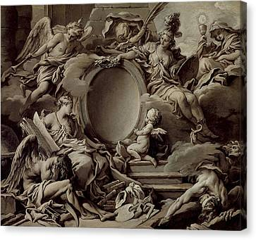 An Allegory Of Minerva Fame History And Faith Overcoming Ignorance And Time Canvas Print by Francois Boucher