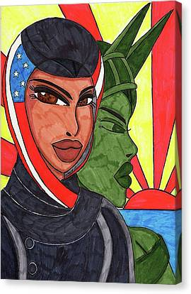 Racism Canvas Print - An American Girl by Ronald Woods