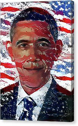 Barack Obama Canvas Print - An American President by Bill Cannon