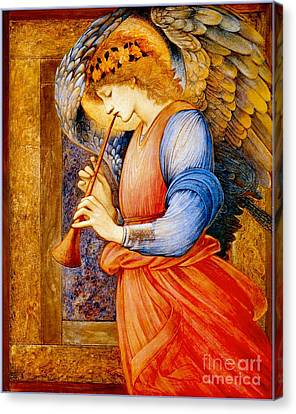 An Angel Playing A Flageolet Canvas Print by Celestial Images