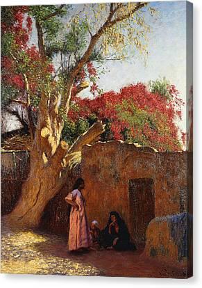 An Arab Family Outside A Village Canvas Print