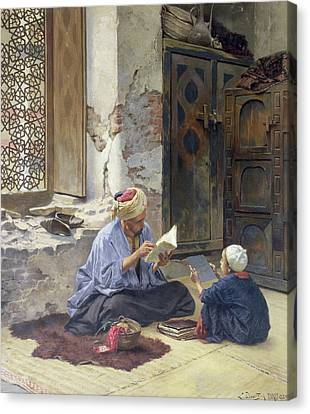 Muslims Canvas Print - An Arab Schoolmaster by Ludwig Deutsch