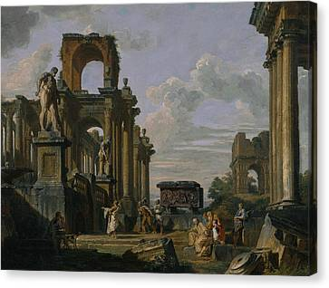 An Architectural Capriccio Of The Roman Forum With Philosophers And Soldiers Canvas Print by Giovanni Paolo Panini