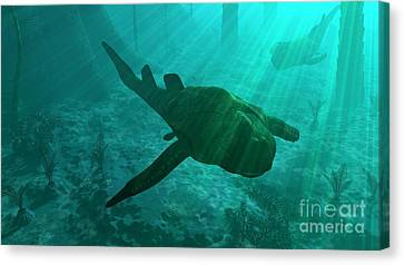 An Armored Bothriolepis Glides Canvas Print by Walter Myers
