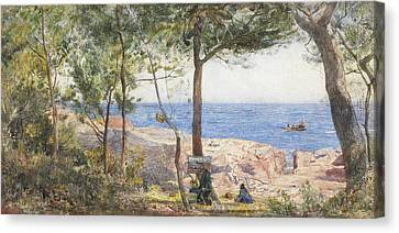 Artist At Easel Canvas Print - An Artist Painting By The Sea by John William Inchbold