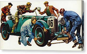 An Aston Martin Racing Car, Vintage 1932 Canvas Print by Peter Jackson