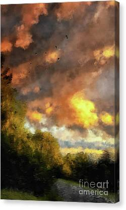 Canvas Print featuring the digital art An August Sunset by Lois Bryan