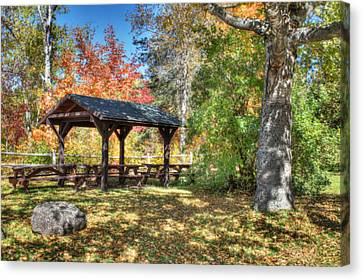 Canvas Print featuring the photograph An Autumn Picnic In Maine by Shelley Neff