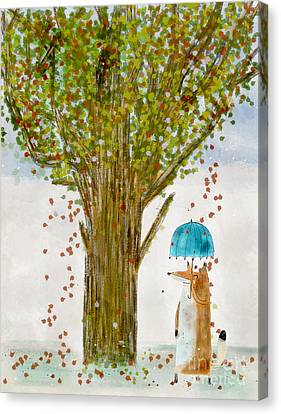 Canvas Print featuring the painting An Autumns Day by Bri B