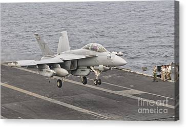 An Ea-18g Growler Landing On The Flight Canvas Print by Giovanni Colla