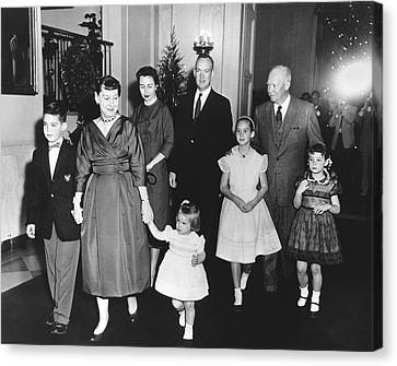 Medium Group Of People Canvas Print - An Eisenhower Christmas by Underwood Archives