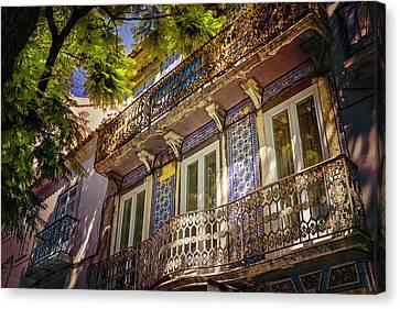 An Elegant Balcony In Lisbon Portugal  Canvas Print