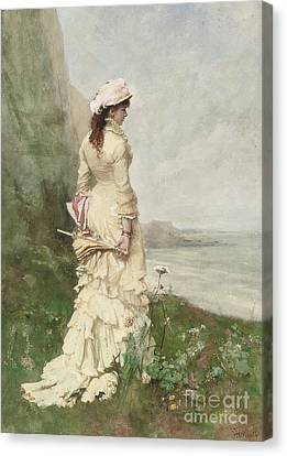 An Elegant Lady By The Sea Canvas Print