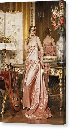 An Elegant Lady In An Interior Canvas Print by Joseph Frederic Charles Soulacroix