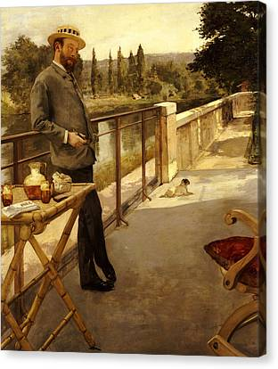 An Elegant Man On A Terrace Canvas Print by Henri Gervex