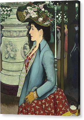 An Elegant Woman At The Elysee Montmartre Canvas Print by Louis Anquetin