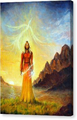 An Enchanting Mystical Priestess With A Sword Of Light In A Land Canvas Print by Jozef Klopacka