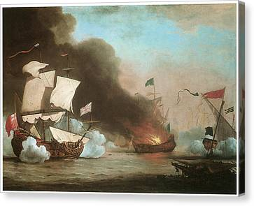 An English Ship In Action With Barbary Pirates Canvas Print by Willem van de Velde the Younger