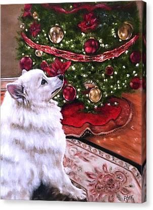 An Eskie Christmas Canvas Print