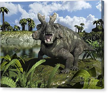 An Estemmenosuchus Mirabilis Stands Canvas Print by Walter Myers
