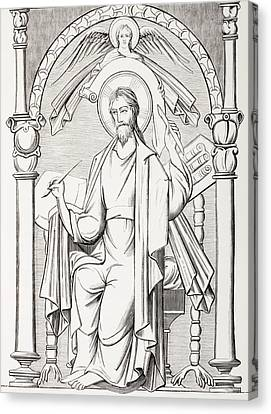 An Evangelist Writes A Sacred Text And Canvas Print by Vintage Design Pics