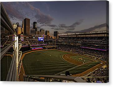 Canvas Print featuring the photograph An Evening At Target Field by Tom Gort
