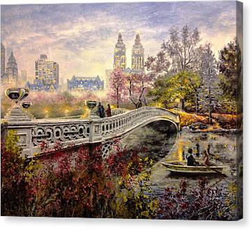 Pallet Knife Canvas Print - An Evening In Central Park by Spencer Yancey