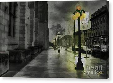 Canvas Print featuring the mixed media An Evening In Paris by Jim  Hatch