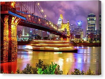 An Evening On The Ohio River - Cincinnati Ohio Canvas Print