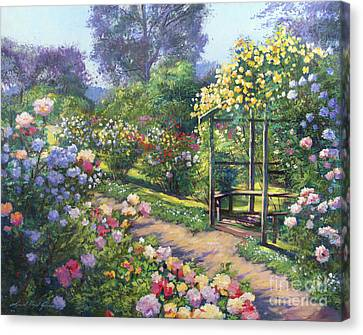 An Evening Rose Garden Canvas Print by David Lloyd Glover