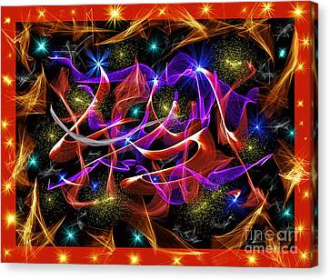An Explosion Of Colors And Motion In Space  Canvas Print by Jim Fitzpatrick