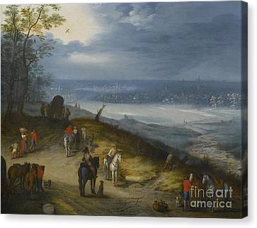 An Extensive Wooded Landscape With Travelers Canvas Print