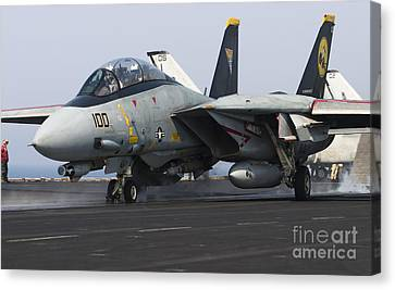 An F-14d Tomcat Launches Off The Flight Canvas Print