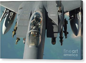 Operation Iraqi Freedom Canvas Print - An F-15 Strike Eagle Prepares To Refuel by Stocktrek Images