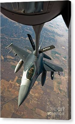 An F-16 Fighting Falcon Receiving Fuel Canvas Print by Stocktrek Images