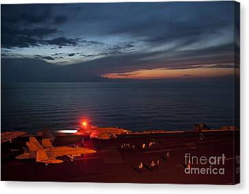 F-18 Canvas Print - An F A-18 Launches by Celestial Images